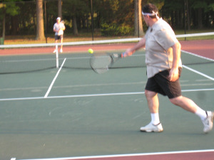 Tennis strike point backhand